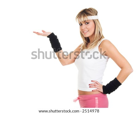 Girl in advertising girl. Advertise product on hand. Pointing object - stock photo