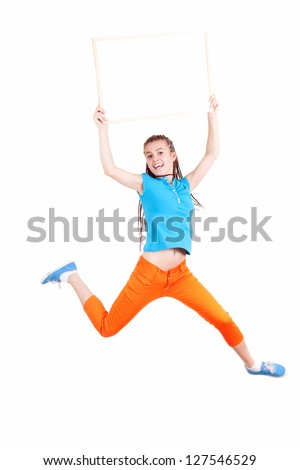 girl in african hairdo jumping or running with empty board; full length; white background - stock photo