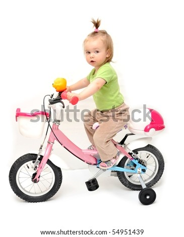girl in bike isolated on white - stock photo