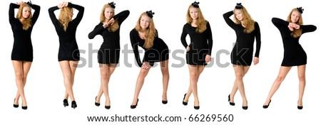 Girl in black dress - stock photo