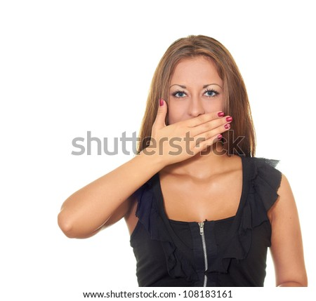 girl in black dress isolated on white background closed mouth with a hand