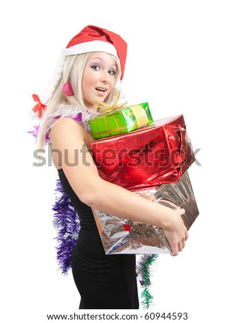girl in black dress with present boxes