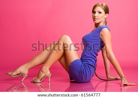 girl in blue dress - stock photo