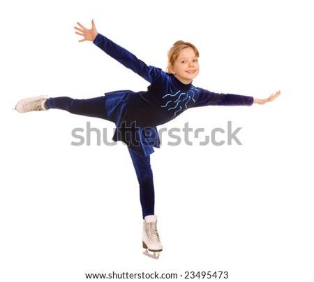 Girl  in blue dress on skates. - stock photo