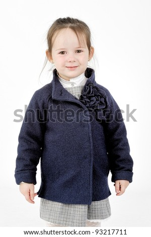 Girl in blue short jacket - stock photo