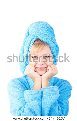 girl in blue towel on white