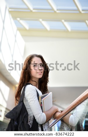 girl in campus - stock photo