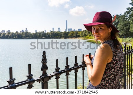 Girl in Central Park, Jacqueline Kennedy Onassis Reservoir, New York - stock photo