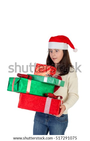 Girl in christmas with gift box