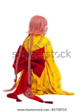 girl in cosplay character kimono costume - stock photo