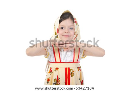 Girl in costume dancing Russian folk dance. Isolated on white background