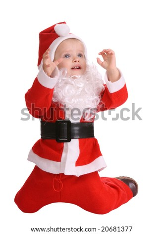 Girl in costume of santa claus.