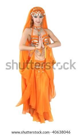 girl in eastern dress - stock photo