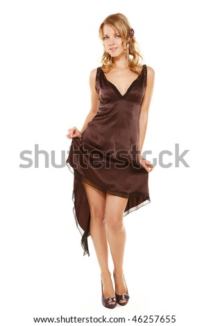 Girl in evening dress over isolated white background - stock photo