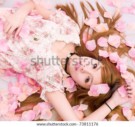 Girl in flower - stock photo