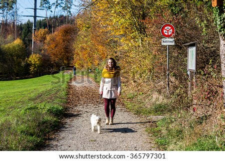 Girl in forest in autumn - stock photo
