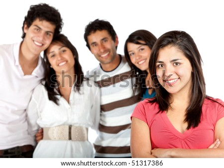 Girl in front of a group of people - isolated over a white background - stock photo