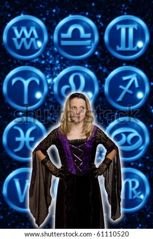 girl in front of astrological signs - stock photo