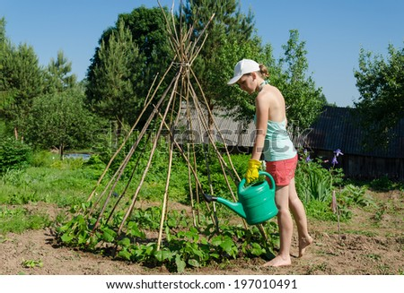 girl in garden with watering can goes around wooden stick  tower and watering growing beans