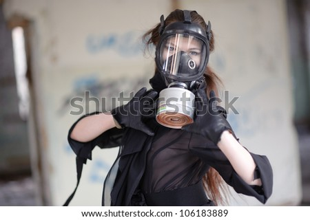 Girl in gas mask