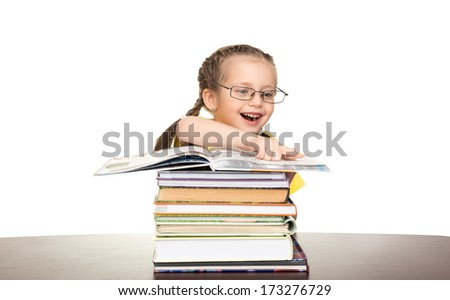 girl in glasses read book on white