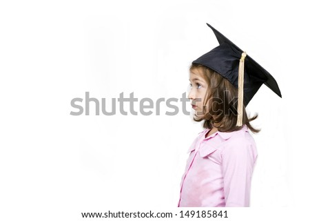 Girl in graduation cap.Profile, isolated on a white background - stock photo