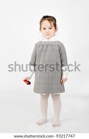 Girl in gray - stock photo