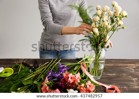 Girl Gray Blouse Jeans Make Bouquet Stock Photo 437482957 Shutterstock