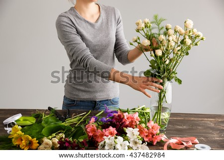 Girl Gray Blouse Jeans Make Bouquet Stock Photo Royalty Free