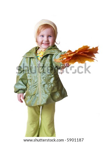 girl in green jacket isolated on white