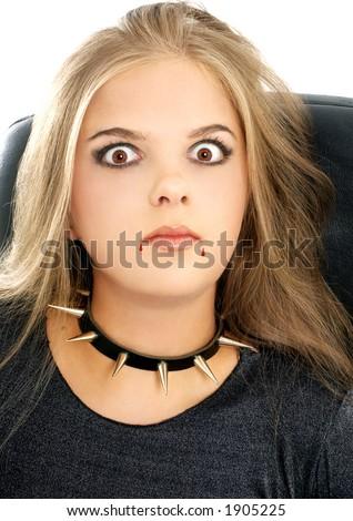 girl in halloween vampire makeup - stock photo