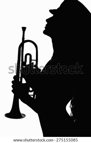 girl in hat with trumpet.monochrome silhouette of young sexy body woman.musical instrument - stock photo