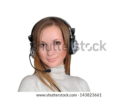 Girl in headphones answer the call