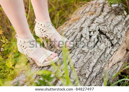 Girl in Heels on a Log - stock photo