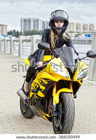 Girl in helmet - stock photo