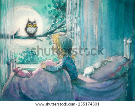 Girl in her bed looking at owl on a tree.Picture created with watercolors - stock photo