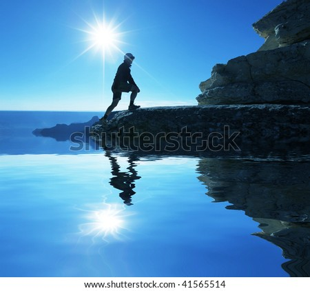 Girl  in hike - stock photo