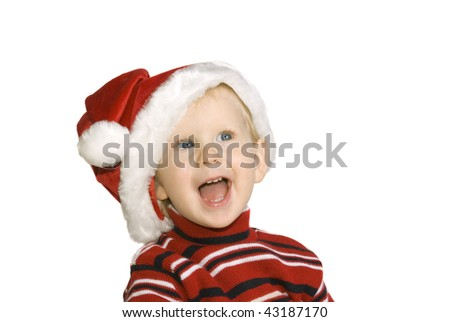 girl in hubcap SANTA, insulated on white background