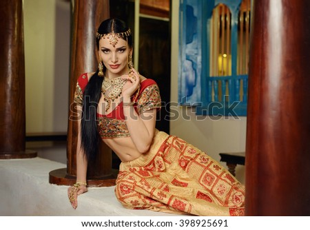 Girl in Indian national costume - stock photo
