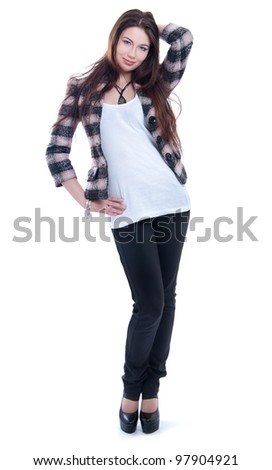 Girl in jacket standing on a white background - stock photo