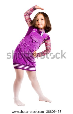 girl in lilac peasant woman's dress on white background - stock photo