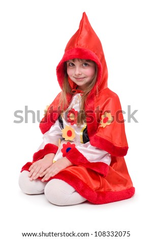 Girl in Little Red Riding Hood costume - stock photo