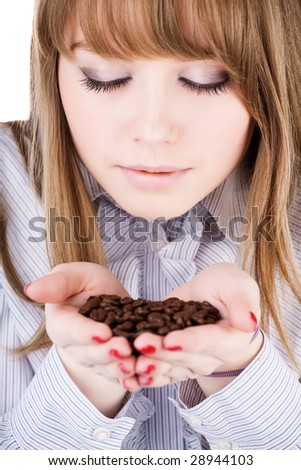 Girl in love with coffee isolated - stock photo
