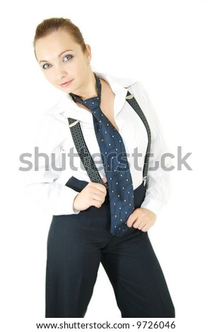 Girl in male costume, tie and suspenders