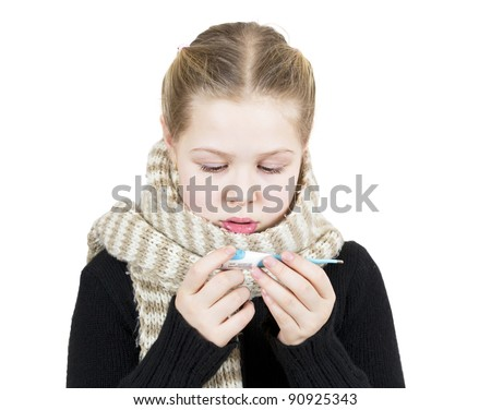 Girl in mask with thermometer isolated on white background