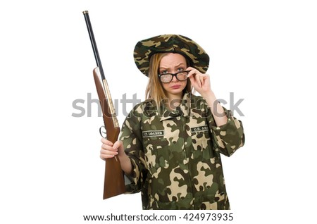 Girl in military uniform holding the gun isolated on white - stock photo