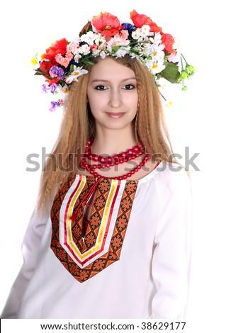 girl in national dress - stock photo