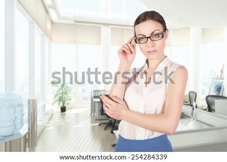 girl in office - stock photo
