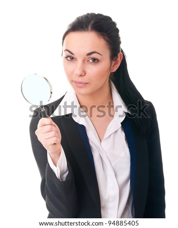 Girl in office clothes with emotions - stock photo