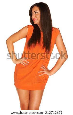 Girl in orange dress - stock photo